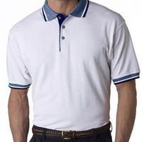 Classic Pique Polo | Ultraclub Adult White Classic Polo with Stripe Trim