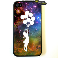 Iphone 4 Case Banksy Balloon Girl in Space by KeepCalmCaseOn