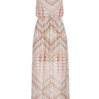 Multicolor Patterned Maxi Dress With Keyhole Front - Multi