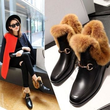 Winter Womens Real Fur Leather Square Toe Shoes Leather Pull On Ankle Boots Warm Shoes B113