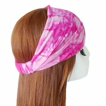 BOHO Tie Dye Cotton Headbands Bandana Turban Head Wraps Elastic Hair Bands For Women Girls Hair Accessories Bandage 10pcs