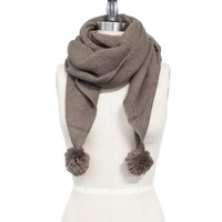 Brown Cable Knit Pom Pom Scarf