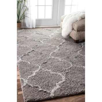 nuLOOM Handmade Moroccan Trellis Grey Shag Rug (7'6 x 9'6) | Overstock.com Shopping - The Best Deals on 7x9 - 10x14 Rugs