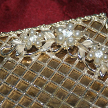 Vintage Ornate Compact with Pearl and Rhinestone Flowers