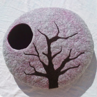 M - Handmade felt cat bed / cat cave/ cat house / cat basket / Nuno felted merino wool with CATMINT - Tree without leaves - Gift ball