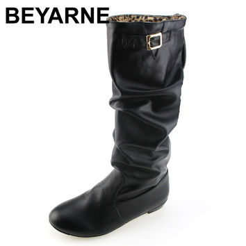 BEYARNE Big Size 34-43 Women Knee High Boots Vintage Low Thick Heel Spring Autumn Shoes Round Toe Less Platform Motorcycle Boots
