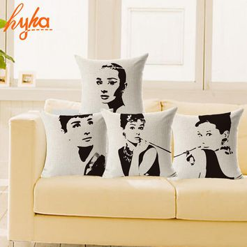 Simple Style Audrey Hepburn Cushion Cover Cotton Linen Cushion Cover Sofa Chair Seat Throw Pillowcase Decorative Pillows