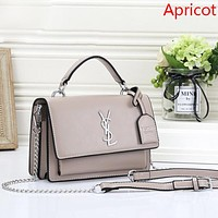 YSL Fashion New Leather Shopping Shoulder Bag Leisure Crossbody Bag Women  Apricot