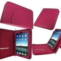 rooCASE Executive Portfolio Genuine (Magenta) Leather Case for 4th Generation iPad with Retina Display / the new iPad 3rd / Apple iPad 2 (Automatically Wakes and Puts the iPad to Sleep)