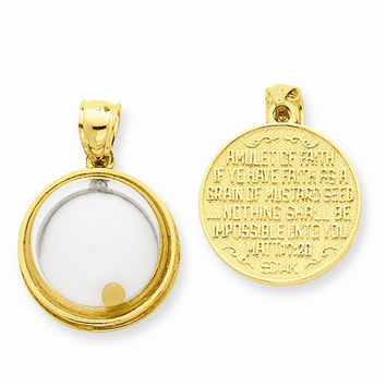 14k Yellow Gold Mustard Seed Have Faith Pendant