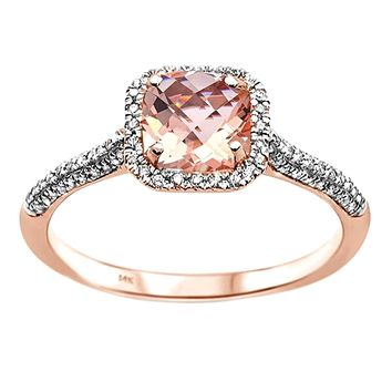1.03tcw Cushion Morganite   Diamond in 14K Rose Gold Halo Ring c159e2a81