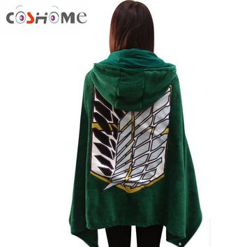 Cool Attack on Titan Coshome  No  Cosplay Cloaks Costumes Levi Shawls Blankets Green Hoodies Coral Velvet Plush Pajamas AT_90_11
