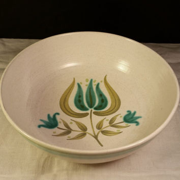 Franciscan Tulip Time Soup Cereal Bowl Earthenware California Pottery mid century modern vintage turquoise Teal & Olive Bowl