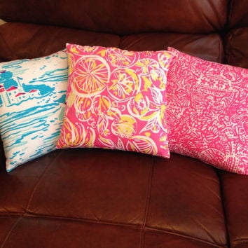Lilly Pulitzer Print 12x12 Hand Sewn Pillow