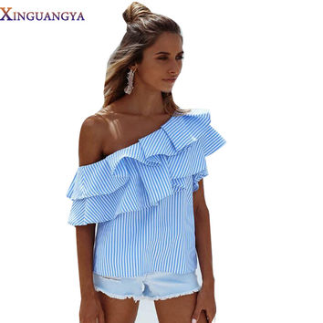 New 2017 Summer Ruffle Striped Blue&Pink Off Shoulder Summer Fashion Tees Women's Tops Ladies T-shirts Women Clothing