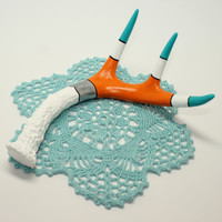 Hand Painted Whitetail Deer Antler in Teal, Orange, White and Black