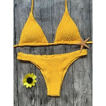 Summer New Fashion Solid Color Pleating Straps Two Piece Bikini Swimsuit Yellow