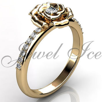 Flower Engagement Ring - 14k yellow gold diamond unusual unique flower engagement ring, wedding ring, anniversary ring ER-1121-2
