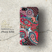 Red and blue Pailays indian abstract floral, iPhone 5/5S case, iPhone 4S case, Decoupage case for iPhone.