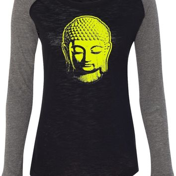 Womens Yoga T-shirt Neon Yellow Buddha Preppy Patch Elbow Tee