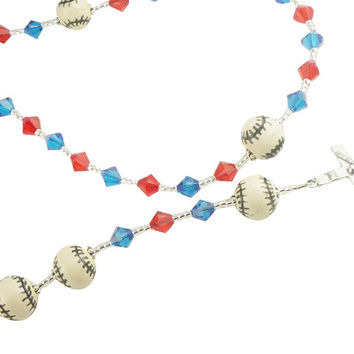 Swarovski Baseball First Communion Rosary- Choose Colors