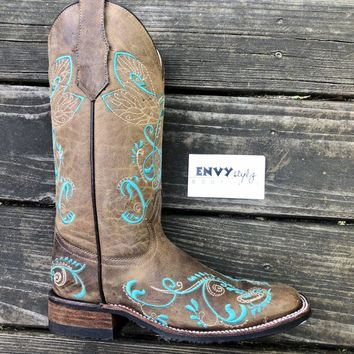 Corral Women's Tan & Turquoise Dragonfly Embroidery Rubber Sole Boot
