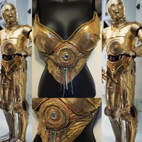 C3PO Star Wars Bra (LED lights): rave attire, geek, stormtrooper, rave wear, festival, cosplay, edc, edc bra, rave bra, edm, nerd