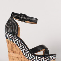 Ziggy-1 Criss Cross Open Toe Ankle Strap Platform Wedge