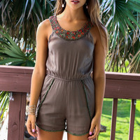 I Know Places Bead Trim Olive Romper