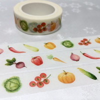 10M Vegetable washi masking tape pepper pumpkin Vegetarians food lite dinner sticker tape receipt cooking planner food party food diary