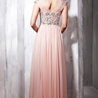 Princess V-neck Floor-length Chiffon Prom Dress at Msdressy