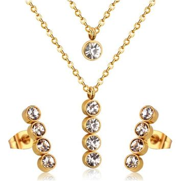 """""""Red Carpet"""" Layered Necklace + Earrings Set - Stainless Steel"""