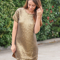 NYC Nights Sequin Dress - Gold
