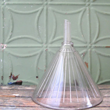 Vintage Glass Funnel, Apothecary Glass Funnel, One Quart Laboratory Funnel, Chemist Funnel, Industrial Decor