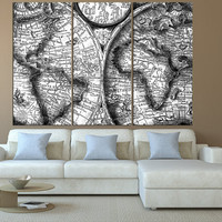 black and white rustic world map canvas wall art print, Large wall Art, vintage old World Map wall art, extra large wall art canvas t516