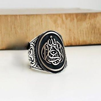 Calligraphy mens band ring 925 sterling silver
