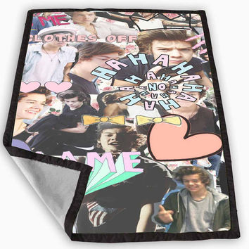 Harry One Direction Collage Blanket for Kids Blanket, Fleece Blanket Cute and Awesome Blanket for your bedding, Blanket fleece *