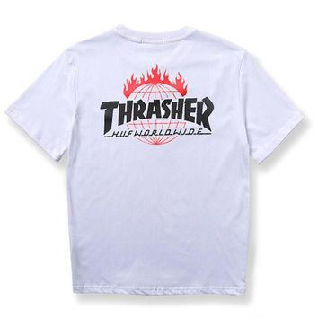 HUF & THRASHER print man women T-shirt short sleeve white top