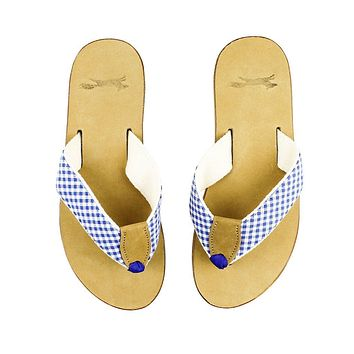 Gingham Strap Leather Sandal in Royal Blue by Country Club Prep - FINAL SALE