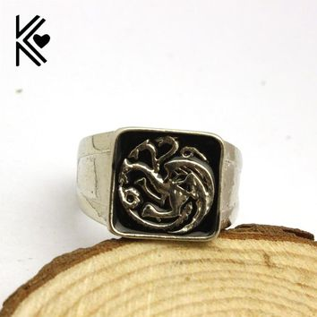 Game Of Thrones House Targaryen Dragon Cocktail Ring Movie Jewelry Fashion Silver Plated Black Enamel Party Men Finger Rings