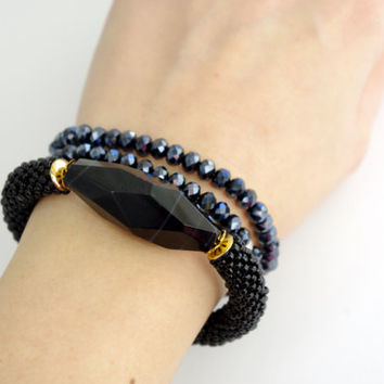 Black stone bangle bracelet - contemporary jewelry - beaded cord agate stone statement bracelet - Modern boho chic crochet rope bracelet