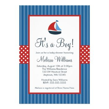 Nautical Sailboat Stripes Baby Shower Invitations