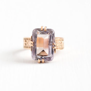 Antique Victorian 10k Rose Gold Rose de France Amethyst Ring - 1890s Size 6 3/4 Large Light Purple Statement February Bithstone Fine Jewelry