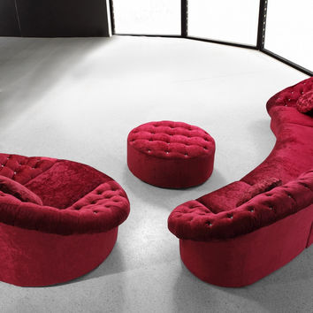 Divani Casa Cosmopolitan Mini - Red Sectional Sofa Set