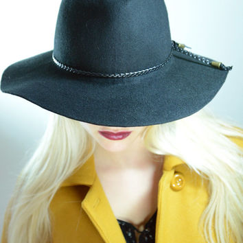 Winter Sale , Floppy Fedora Hat  / Black Fedora / Womens Hat / Fedora hat with leather ribbon , Hats on sale