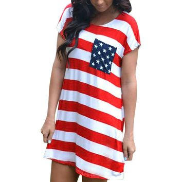 2017 dress female vestidos mujer Dresses Womens Mini Dress Print American Flag Loose dresses Sexy Short Sleeve casual cotton