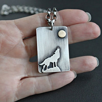 READY TO SHIP Mens Silver Necklace, Wolf Pendant, Mens Sterling Silver Chain