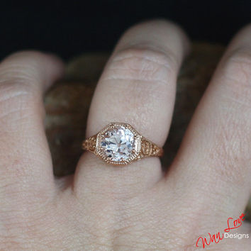 Sample Sale Ready to ship-OEC Old European cut Pale Pink Sapphire Filigree Milgrain Solitaire ring 3ct 8mm Size 6.5 Silver Rose gold-Wedding