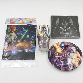 Star Wars Force Episode 1 2 3 4 5 kids boys birthday decorations event party supplies plates cups napkins map tablecover  theme 45pcs for 12people AT_72_6