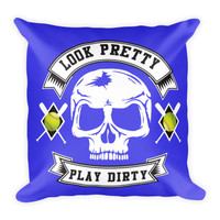 """Softball Pillow 18"""" Square - Look Pretty Play Dirty Blue"""
